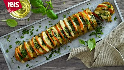 Fan-shaped baguette Caprese with IBIS stone oven Baguette Korn